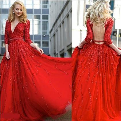 Sexy Red Deep V-Neck Backless Sequi..