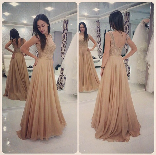 Champagne Long Prom Dresses Custom Made Chiffon A-Line Evening Gowns 2016