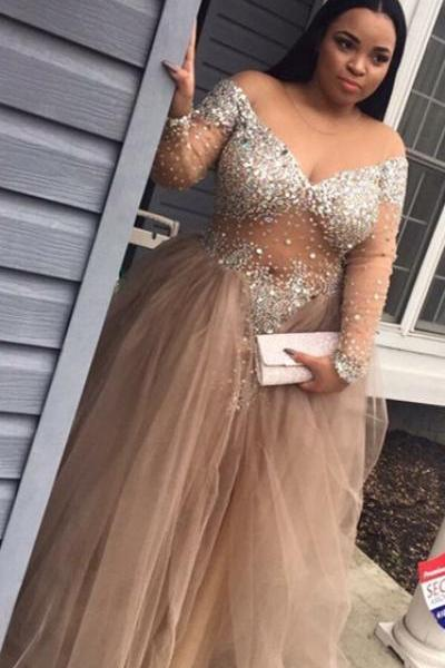 Champagne Plus Size Prom Dresses,African Prom Dresses,Arabic Evening Dresses,Formal Party Dress 2017