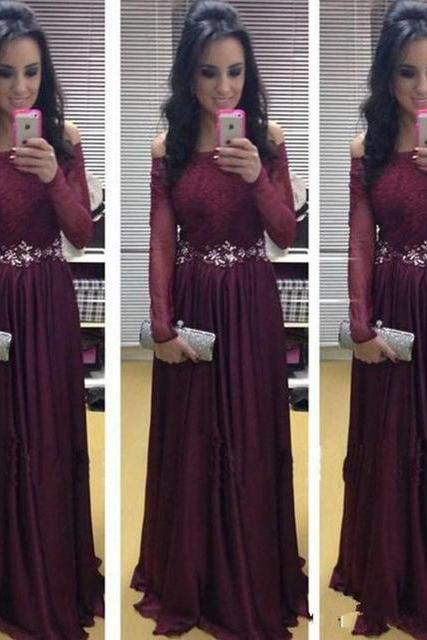 Lace Prom Dress,A-line Chiffon Long Sleeves Beading Prom Dress,Burgundy Prom Dress,Custom Made Evening Gowns