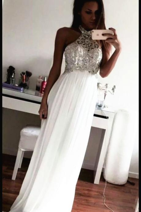 White O-neck Long Prom Dress A-line Chiffon Beading Prom Dress With Appliques Formal Evening Gowns Lace Prom Dress