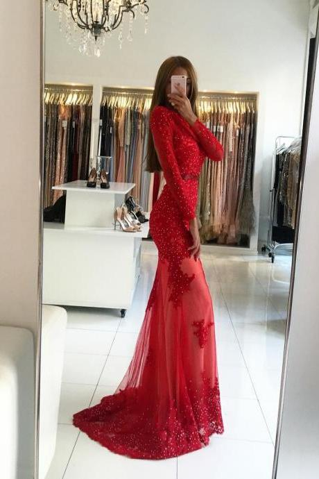 Pretty Red Long Sleeves Backless Mermaid Tulle Long Prom Dress Beading Prom Dress With Appliques Formal Evening Gowns