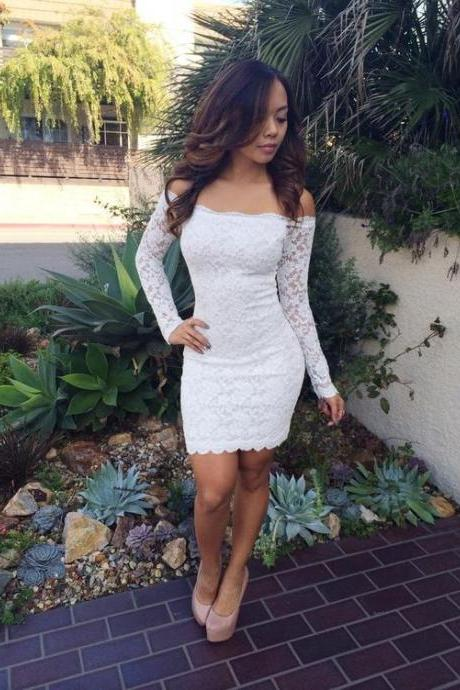 Sexy Mermaid Homecoming Dresses Long Sleeves Short Prom Dress Lace Party Evening Dress