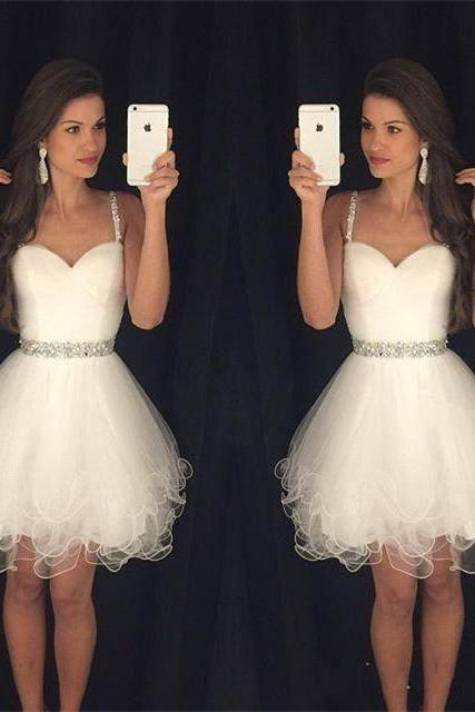 Ivory Beaded Homecoming Dresses Sexy Short Prom Dress Mini Special Occasion Party Dress