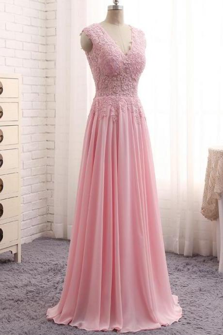 Blush Pink Prom Dresses Cheap 2017 Deep V Neck Formal Dress Special Occasion Party Gowns