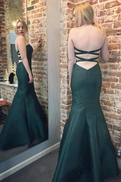 Backless Prom Dress,Mermaid Prom Dresses,Green Formal Evening Dresses,Party Gowns