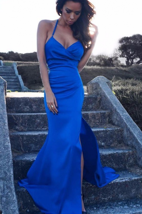 Royal Blue Mermaid Prom Dresses Long 2017 Backless Spaghetti Straps Formal Evening Dress