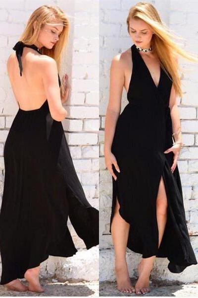 Sexy Black Backless Prom Dresses Deep V Neck Cheap Formal Women Evening Party Dress