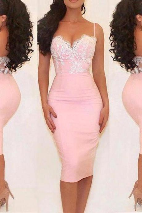 Blush Pink Mermaid Evening Dresses Knee Length 2017 Formal Party Dress Long Prom Gowns Ever Pretty