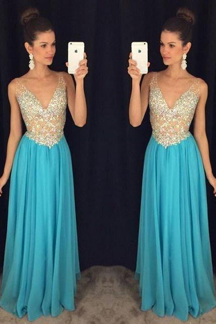 Sky Blue Beaded Evening Dresses Long 2018 Deep V Neck Crystal Robe De Soiree Formal Prom Party Dress