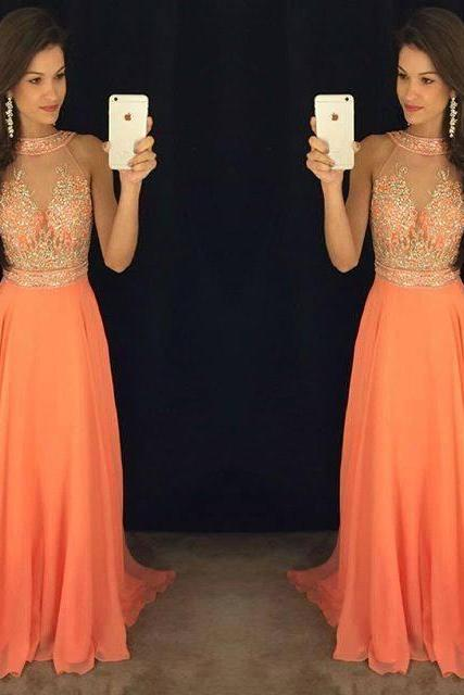 Orange Beading Sheer Prom Dresses 2018 High Neck Floor Length Formal Women Evening Dress Party Gowns