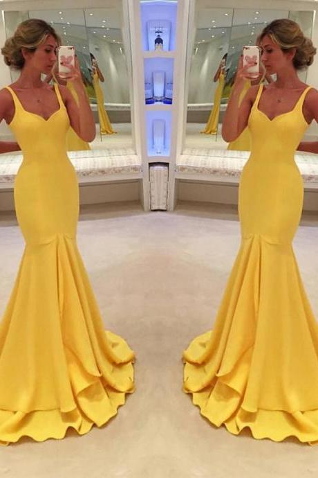 Simple Mermaid Evening Dresses 2018 Yellow Formal Women Prom Party Dresses