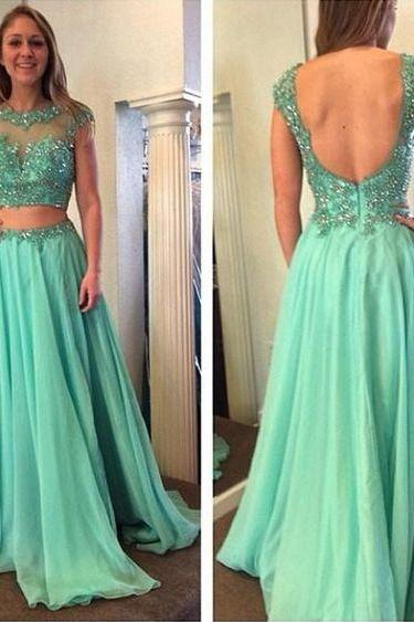 Mint Green Beaded Sheer Evening Dresses 2018 Open Back Formal Prom Party Dresses