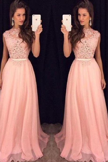 Blush Pink Prom Dresses Lace 2018 High Neck Formal Evening Dresses Long Party Dress