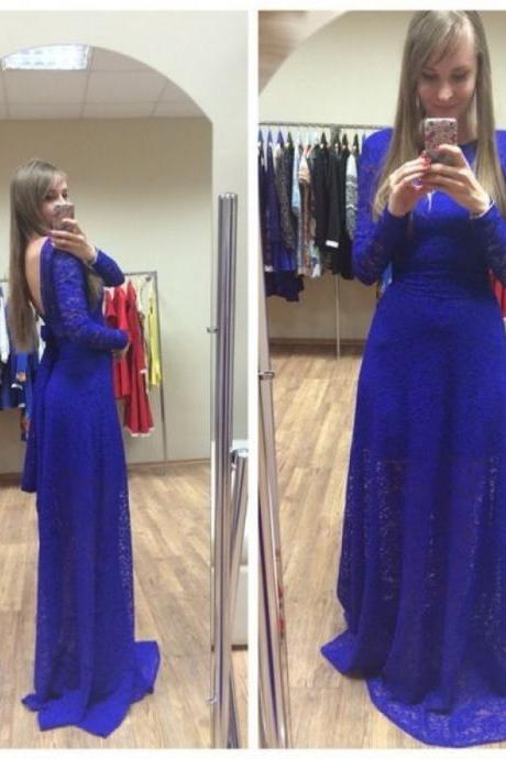 Royal Blue Lace Prom Dresses 2018 Open Back Long Sleeves Formal Women Evening Party Dress