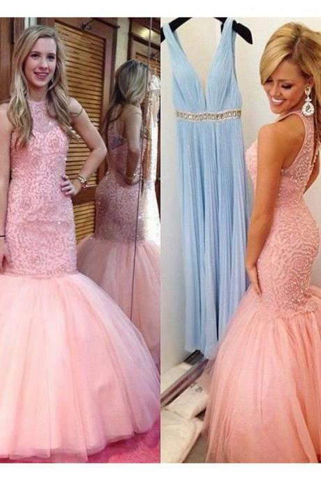 Pink Beading Prom Dresses 2018 Beaded Mermaid Evening Dress Formal Women Party Dress