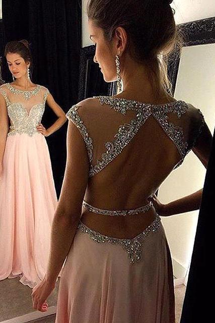 Blush Pink Prom Dresses,Beading Sheer Prom Dresses,Backless Formal Evening Dress,Long Party Dress