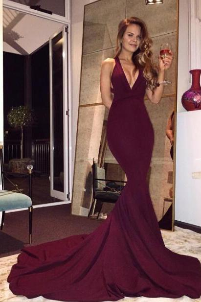 Sexy Deep V-neck Backless Prom Dresses,Burgundy Mermaid Satin Long Prom Dress,Formal Prom Dress