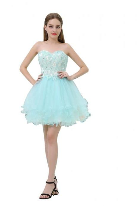 Mint Green Short Prom Dresses,Sweetheart Homecoming Dress,Ball Gown Cocktail Dress,Summer Party Dress