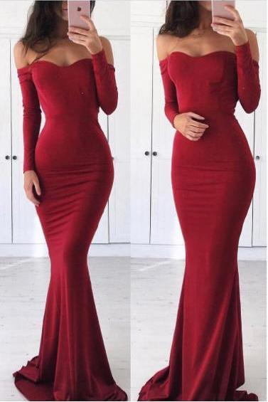 Burgundy Prom Dresses,Mermaid Prom Dress,Long Sleeve Evening Dress,Formal Party Gowns