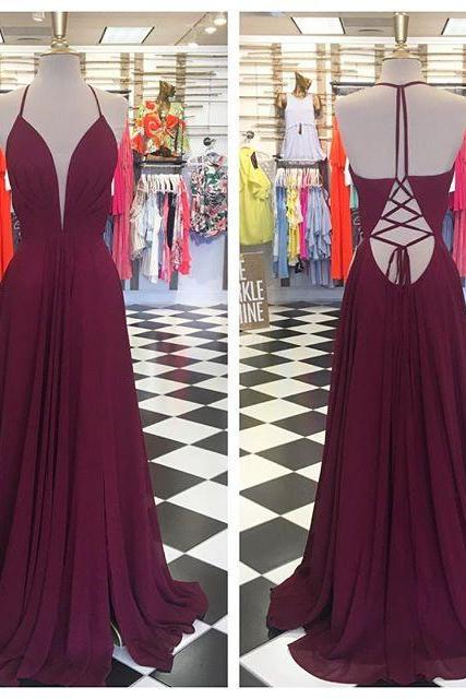 Burgundy Plunging V A-line Long Prom Dress, Evening Dress Featuring Lace-Up Back
