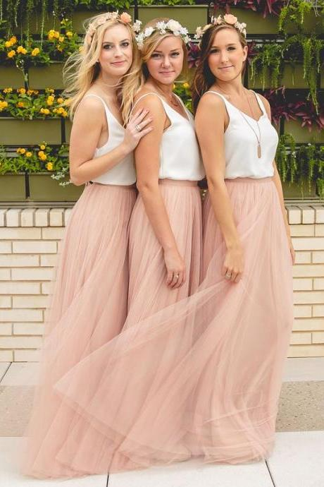 Peach Bridesmaid Dresses,Cheap Wedding Guest Dress,Simple Maid Of Honor Dresses