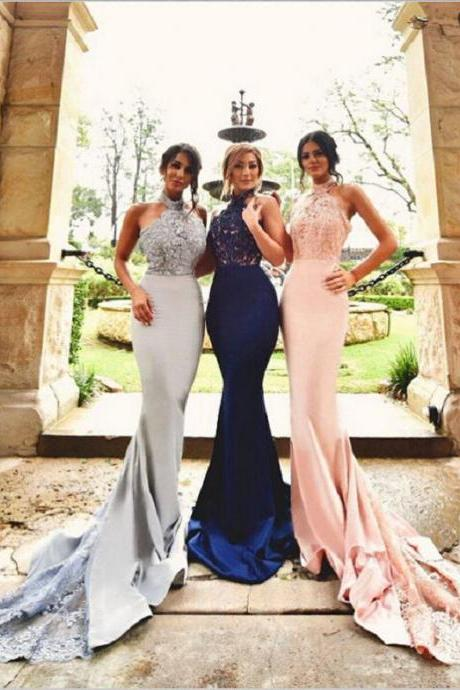 Mermaid Bridesmaid Dresses,Halter Backless Bridesmaids Dresses,2018 Maid Of Honor Dresses,Country Wedding Guest Dresses