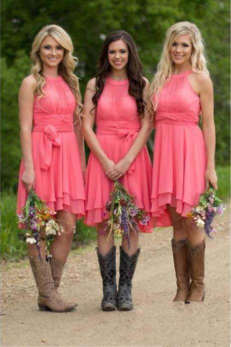 Coral Bridesmaid Dresses,Country Bridesmaid Dress,Cheap Maid Of Honor Dress,Wedding Guest Gowns