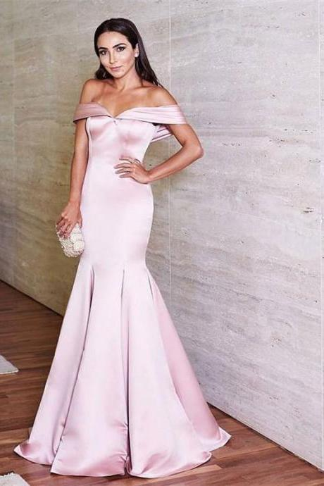 Pink Off The Shoulder Prom Dresses,Mermaid Evening Dress,Formal Dress Long,Party Gowns