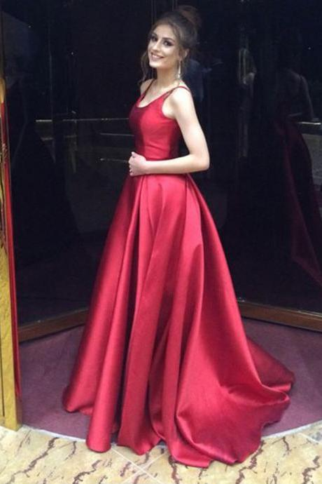 Real Photo Red Prom Dresses Long 2018 Open Back A Line Evening Gowns Formal Dress
