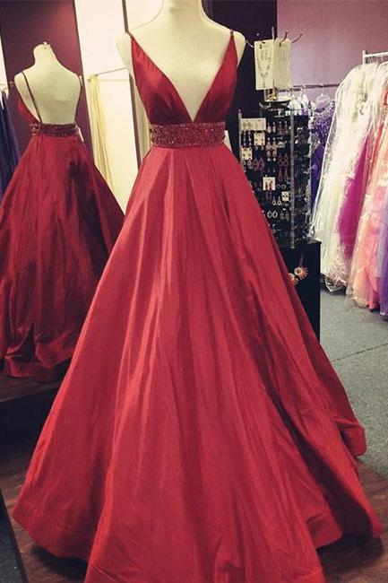 Red Prom Dresses,Deep V Neck Prom Dress,Evening Gowns,Formal Dresses