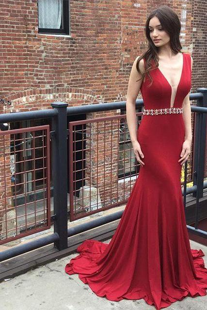 Red Mermaid Prom Dresses Long 2018 Deep V Neck Evening Gowns Women Formal Dress