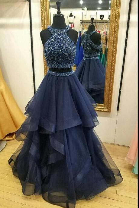 Navy Two Piece Prom Dresses Long 2018 Real Photo Formal Dress Women Evening Gowns