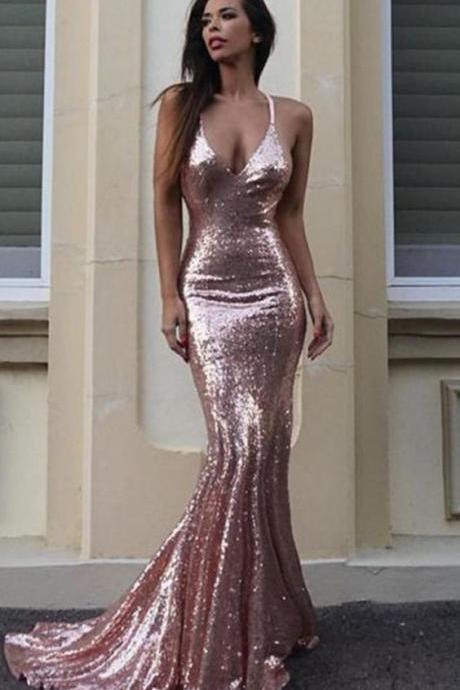 Rose Pink Sequins Mermaid Prom Dresses 2018 Backless Formal Dress Women Evening Gowns