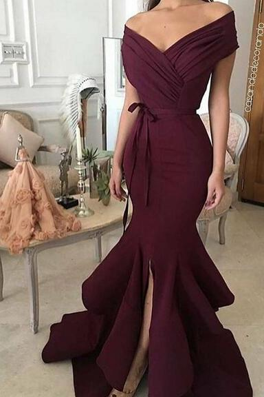 Burgundy Off The Shoulder Prom Dresses Mermaid Formal Dress Long Evening Gowns Party Dress 2018