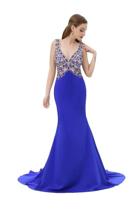 Royal Blue Mermaid Prom Dresses For Women 2018 Deep V Neck Evening Gowns Formal Dress
