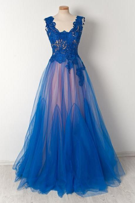 Royal Blue Prom Dresses,Lace Evening Dress,Women Formal Gowns,Banquet Dress