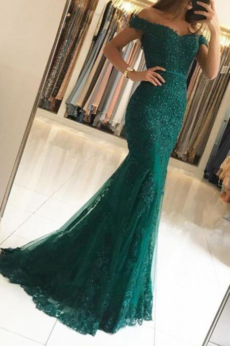 Mermaid Prom Dresses,Off The Shoulder Evening Dress,Lace Formal Gowns,Banquet Dress