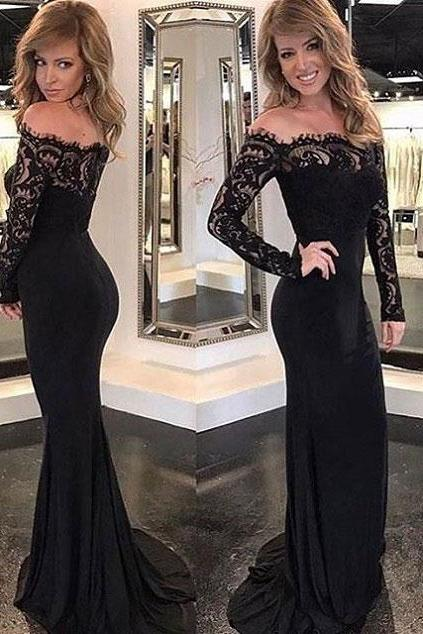 Long Sleeve Mermaid Prom Dresses 2018 Robe De Soiree Black Evening Dress Women Formal Gowns