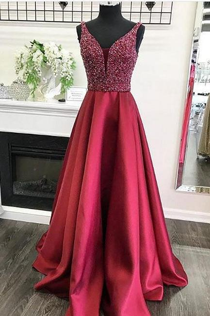Beading Prom Dresses,V Neck Prom Dress,Formal Women Dress,Evening Gowns,Party Dresses