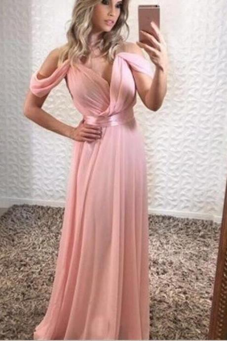 Pink Off The Shoulder Prom Dresses 2018 Long Evening Gowns A Line Women Formal Dress