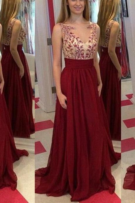 New Arrival Handmade Burgundy Straps Prom Dresses 2016 With Lace Applique, Prom Dresses 2016, Formal Women Dress,Evening Dress