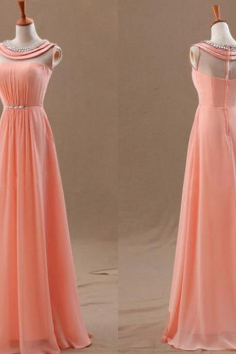New Style 2016 Coral A-Line Floor Length Prom Dress, Prom Dresses 2016, Evening Dresses, Handmade Formal Dress,Evening Dress