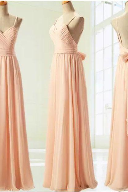 Long pink prom dress,long prom dress,pink prom gown,chiffon prom dress,2016 prom dress,bridesmaid dress,wedding party dress,women dress