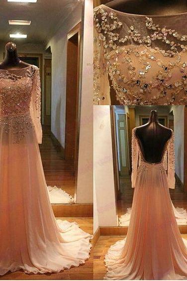Long sleeves pink prom dress,sexy handmade beading prom dress,long formal women dress,A-line evening dress 2016
