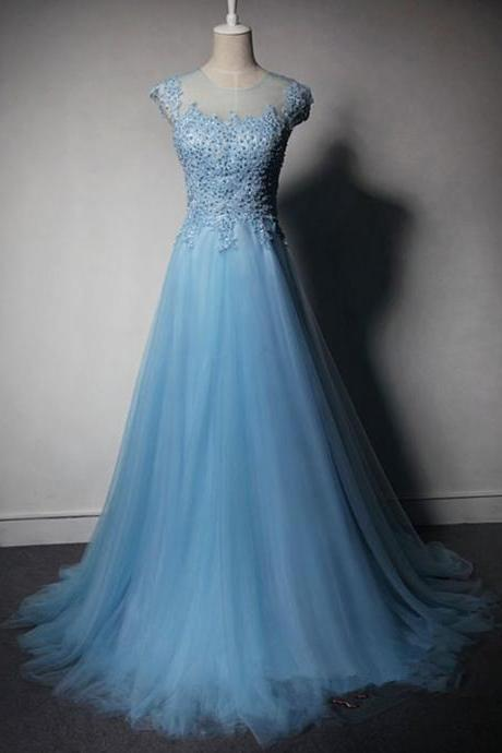 Light Blue Tulle Long Prom Dress 2016 With Lace Applique And Beadings, Blue Prom Dresses, Prom Gowns 2016