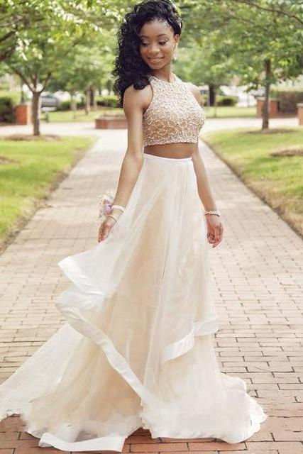 White Two-Piece A-Line Floor Length Prom Dress with Beading and Cascading Detailing