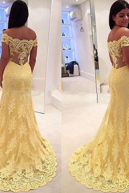 New Mermaid Prom Dresses 2016 Cap Sleeve Floor Length Lace Long Evening Dress Party Dresses