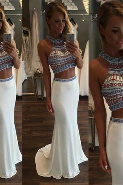 Hot Sale Two Pieces Prom Dress 2016 Beaded Mermaid Cheap Stain Long Evening Graduation Dress