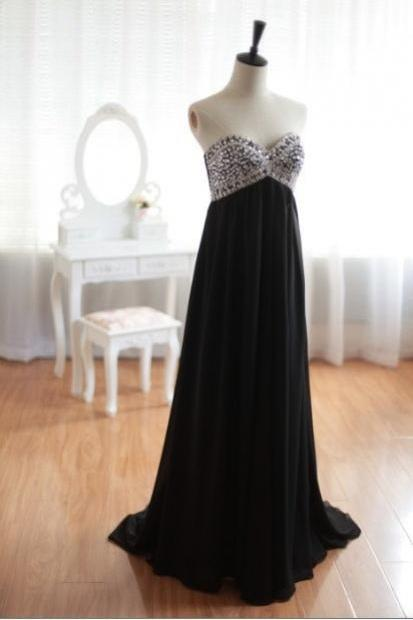 Sexy Black Prom Dress,Long Prom Dress 2017,Sweetheart Prom Dress,Evening Gowns